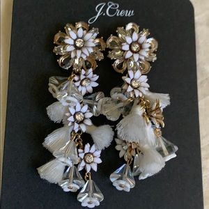 J.crew white bloom statement earrings